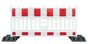 Absperrung  2 m_Rot-Weiss _Kunststoff  ohne Fuss mieten leihen