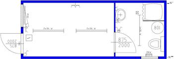 Bauleitercontainer mit Toilette und Dusche mieten leihen