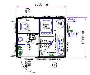Sanitärcontainer /  Dusch- und  WC-Container Typ 10' mieten leihen