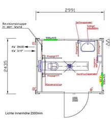 Barrierefreier WC-Container; behindertengerechter WC-Container mieten leihen